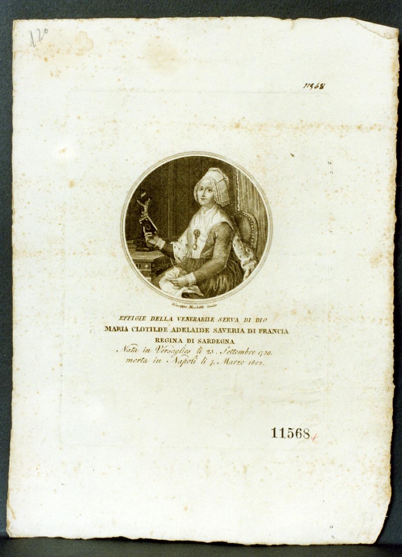 ritratto della regina Maria Clotilde Adelaide Saveria (stampa) di Mochetti Giuseppe (sec. XIX)