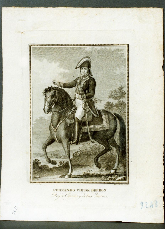 ritratto di Ferdinando VII di Borbone a cavallo (stampa) di Vazquez Antonio (sec. XIX)