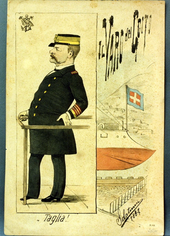 caricatura del direttore dell'arsenale (stampa a colori) di Buonsollazzi Mario detto Solatium (sec. XIX)