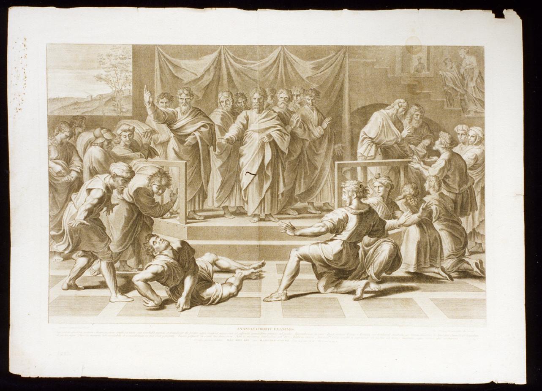 morte di Anania (stampa) di Dorigny Nicolas (ultimo quarto sec. XVII)