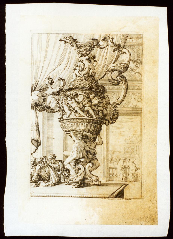 brocca istoriata (stampa tagliata) - ambito francese (seconda metà sec. XVII)