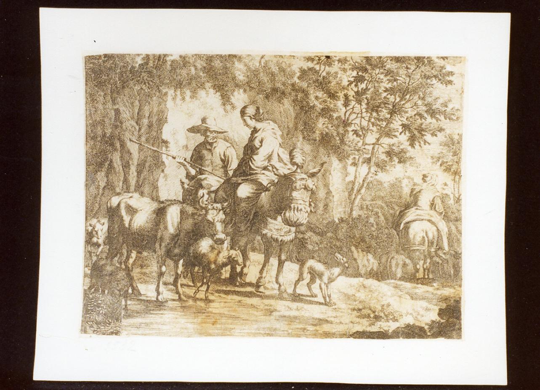 paesaggio con figure e animali (stampa) - ambito italiano (secc. XVII/ XVIII)