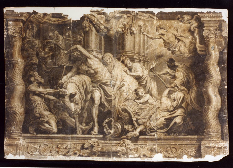 allegoria del trionfo del cristianesimo sul paganesimo (stampa) - ambito italiano (metà sec. XVII)