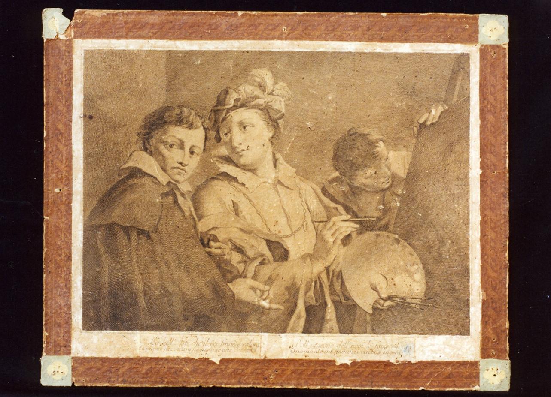 allegoria della pittura (stampa) di Alessandri Innocente (secc. XVIII/ XIX)