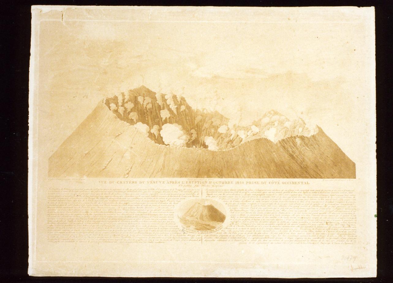 veduta del cratere del Vesuvio in eruzione (stampa tagliata) di Mori Ferdinando (sec. XIX)
