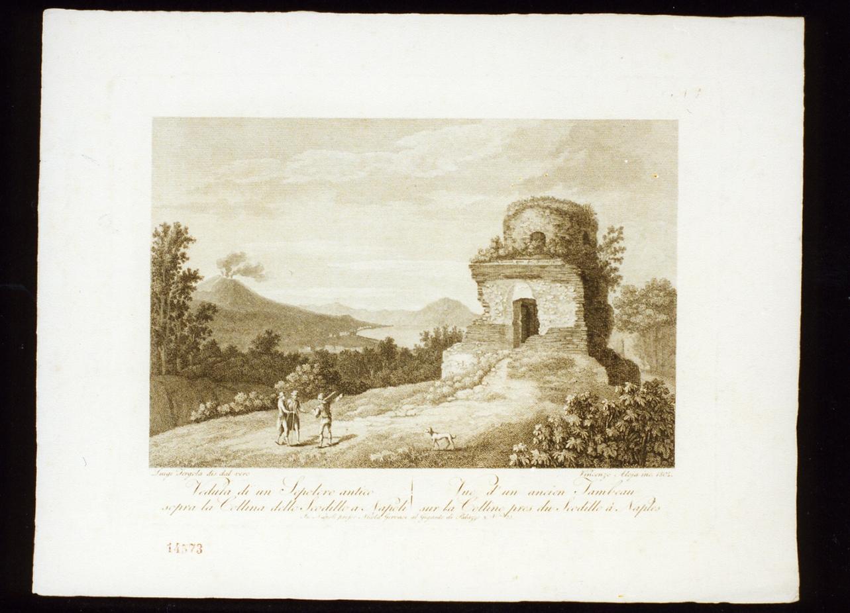 veduta di un sepolcro antico sopra la collina dello scudillo (stampa) di Fergola Luigi, Alloja Vincenzo (sec. XIX)