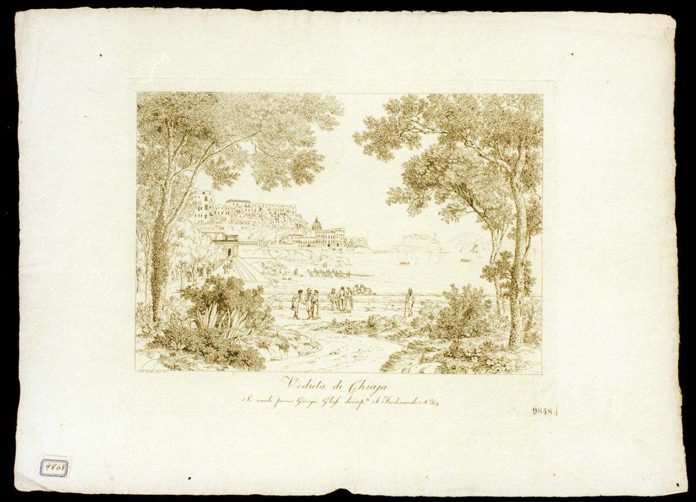 veduta di Napoli da Chiaia (stampa) di Huber Wilhelm (sec. XIX)