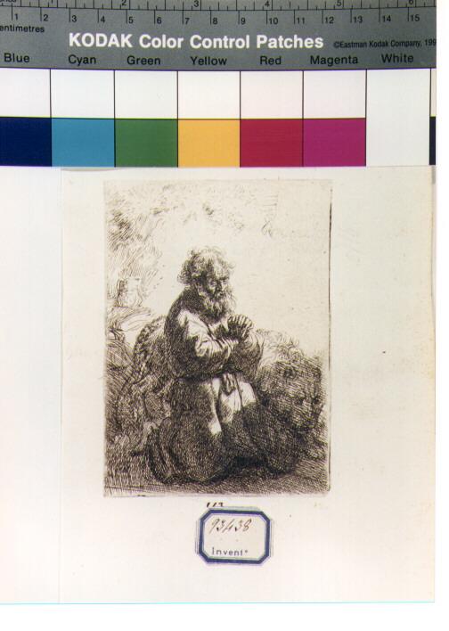 San Girolamo in meditazione (stampa) di Van Rijn Rembrandt Harmenszoon (secondo quarto sec. XVII)