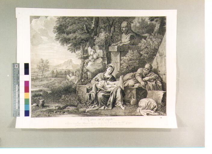 riposo nella fuga in Egitto (stampa) di Mola Pier Francesco, Jeaurat Edme (secc. XVII/ XVIII)