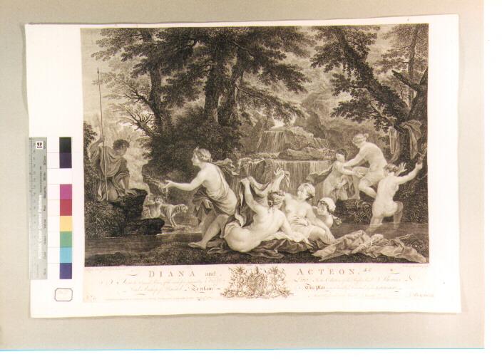 Diana e le ninfe sorprese da Atteone (stampa) di Martin David, Woollet William, Lauri Filippo (sec. XVIII)
