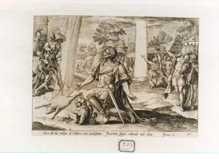 Gedeone e il prodigio del vello di lana (stampa) - ambito fiammingo (seconda metà sec. XVI)