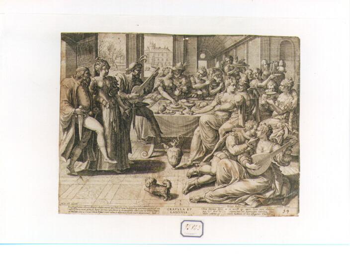 Sette Vizi Capitali: Gola e Lussuria (stampa) di De Vos Marten (seconda metà sec. XVI)
