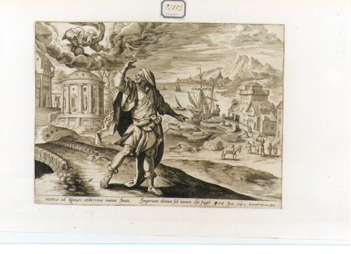 Giona contempla la città di Ninive (stampa) di De Vos Marten (secc. XVI/ XVII)