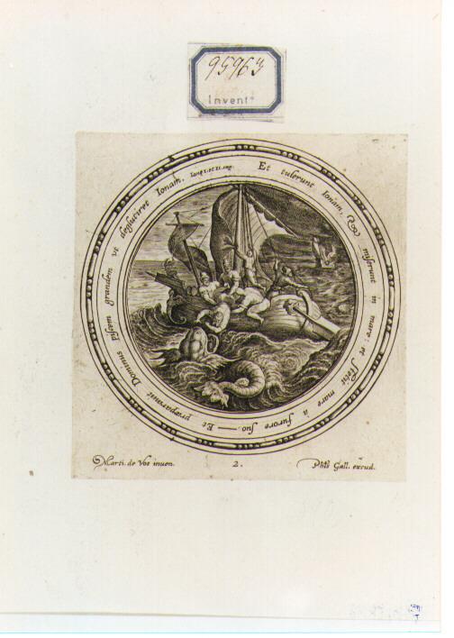 Giona esce dal ventre della balena (stampa) di Galle Philip (seconda metà sec. XVI)