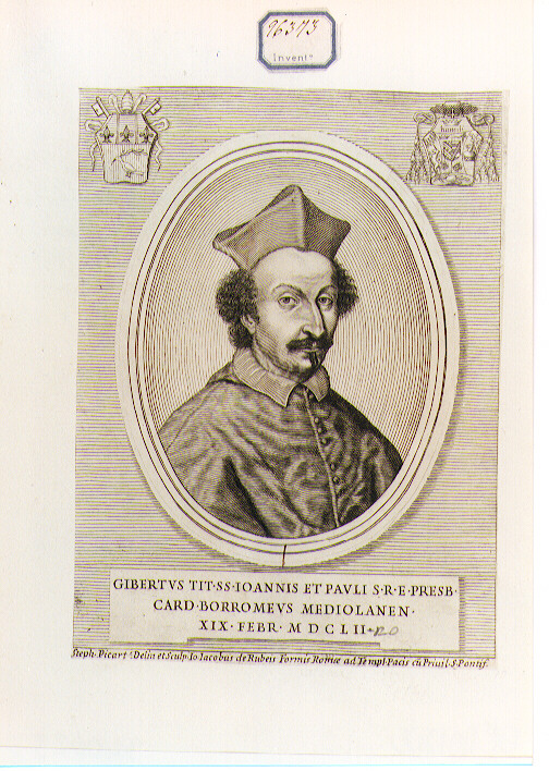 Ritratto del Cardinale Gilberto Borromeo (stampa) di Picart Etienne (sec. XVII)