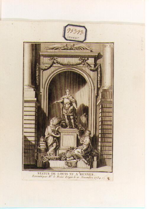 statua equestre di Luigi XV a Rennes (stampa) di Lemoyne Jean Louis (sec. XVIII)