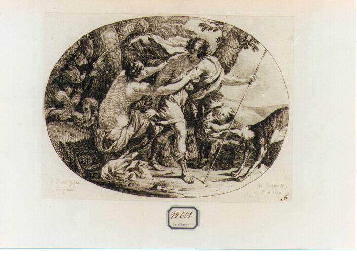 Venere tenta di trattenere Adone dall'andare a caccia (stampa) di Dorigny Michel, Vouet Simon (sec. XVII)