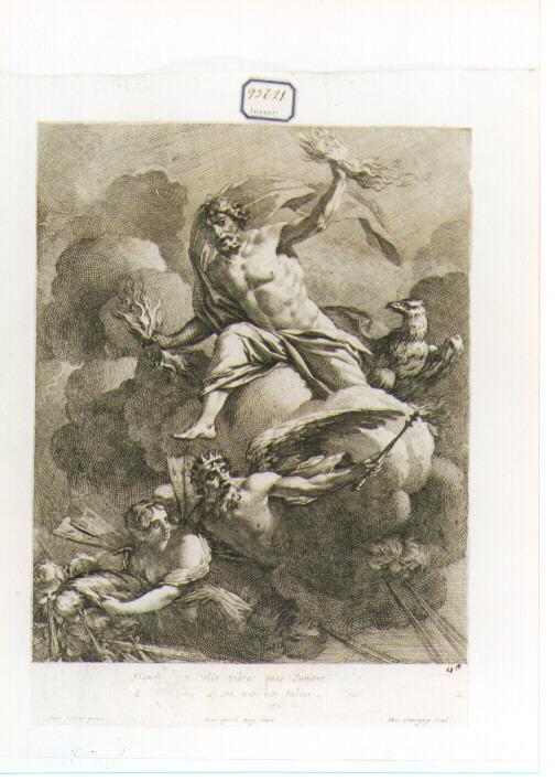 Giove saettante (stampa) di Vouet Simon, Dorigny Michel (sec. XVII)