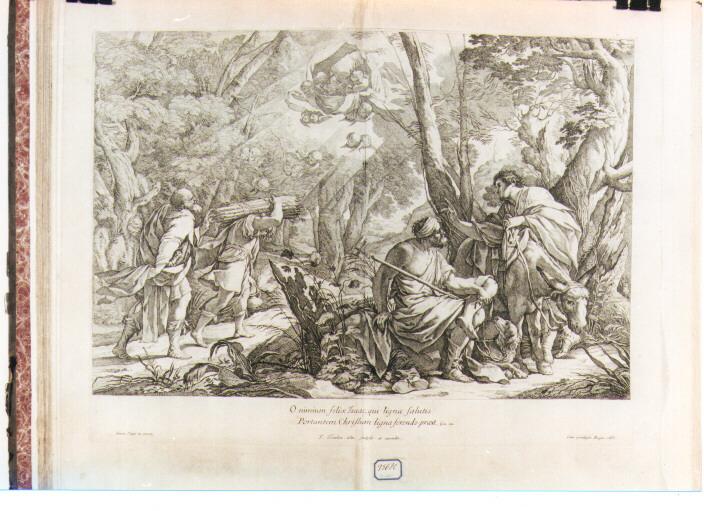 Abramo e Isacco salgono al Monte Moria (stampa) di Vouet Simon, Tortebat François (sec. XVII)