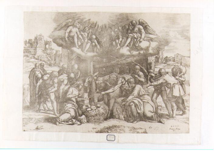 adorazione dei pastori (stampa) di Franco Giovanni Battista detto Semolei (secc. XVI/ XVII)