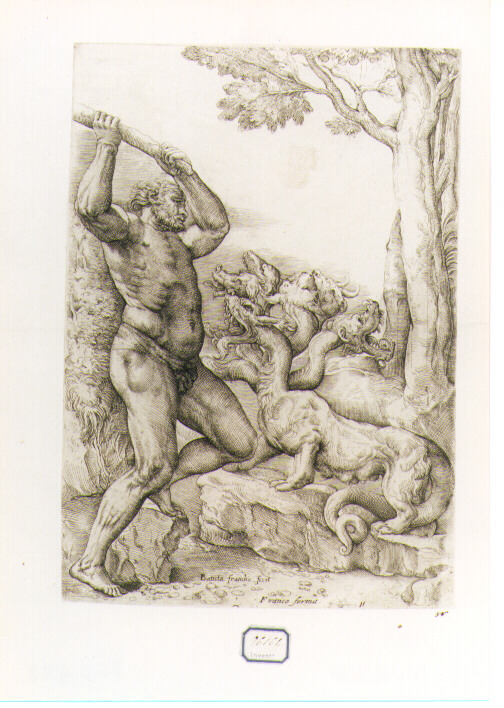 Ercole e l'idra di Lerna (stampa) di Franco Giovanni Battista detto Semolei (secc. XVI/ XVII)