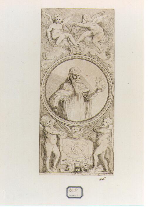 Sant'Antonio Abate (stampa) di Franco Giovanni Battista detto Semolei, De Caylus Anne Claude Philippe (sec. XVIII, prima metà)