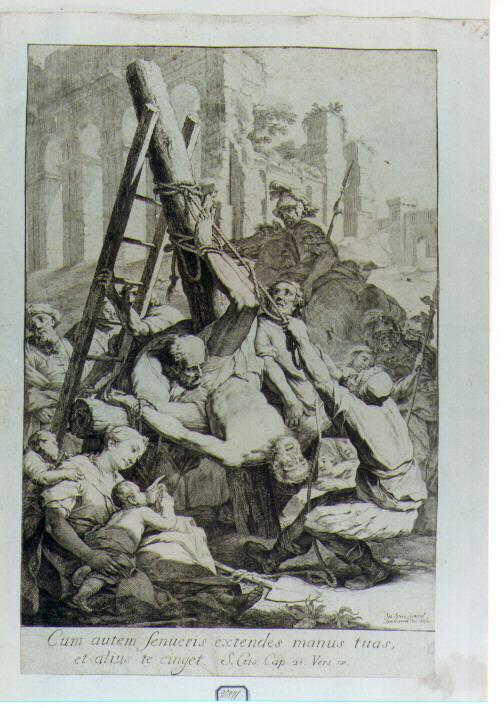 crocifissione di San Pietro (stampa) di Ligari Giovanni Pietro (sec. XVIII)