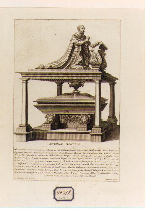 Monumento Sepolcrale di Alberto De Gondi (stampa) di Mariette Pierre-Jean (sec. XVIII)