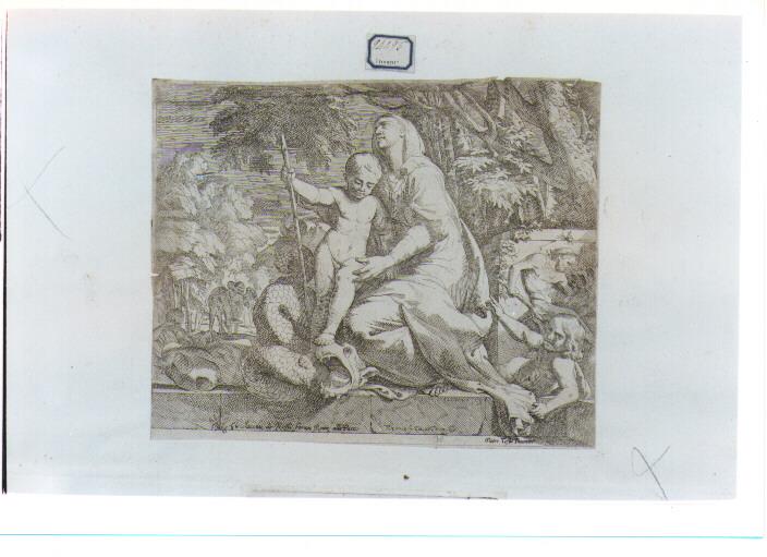 Madonna con Bambino (stampa) di Testa Giovanni Cesare (seconda metà sec. XVII)