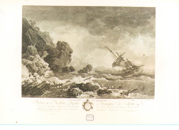 marina con naufragio (stampa) di Vernet Claude Joseph (sec. XVIII)