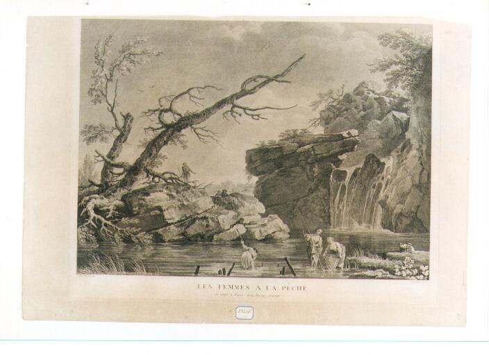 paesaggio fluviale (stampa) di Vernet Claude Joseph, Le Veau Jean Jacques (sec. XVIII)