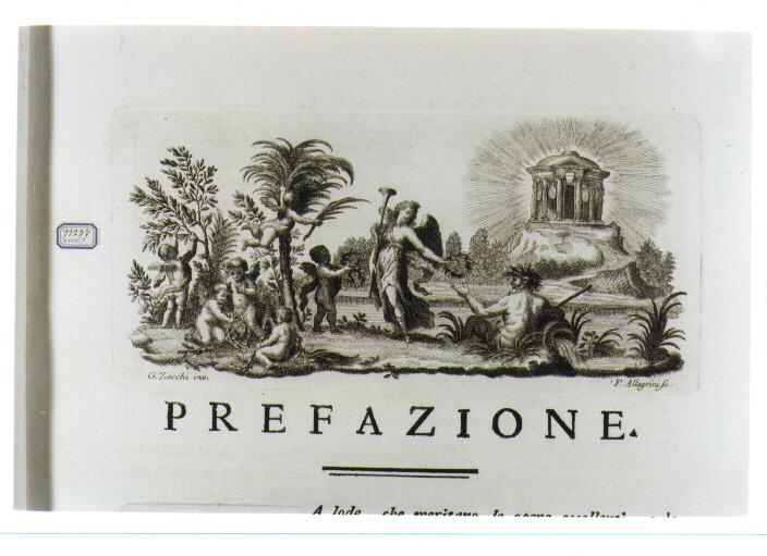 SCENA ALLEGORICA (stampa) di Zocchi Giuseppe, Allegrini Francesco (sec. XVIII)