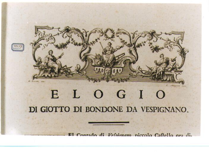 ALLEGORIA DELLA PITTURA, DELL'ARCHITETTURA E DELLA SCULTURA (stampa) di Zocchi Giuseppe, Allegrini Francesco (sec. XVIII)