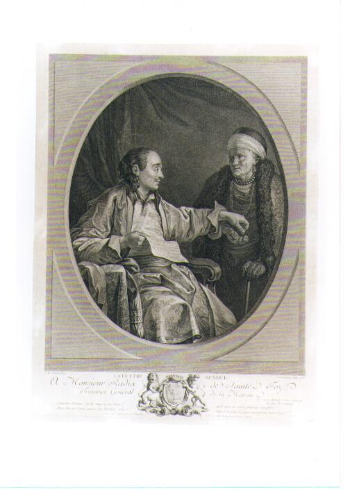 FIGURA MASCHILE IN ATTO DI RICEVERE UNA LETTERA (stampa controfondata smarginata) di Le Prince Jean Baptiste, De Delaunay Nicolas (sec. XVIII)