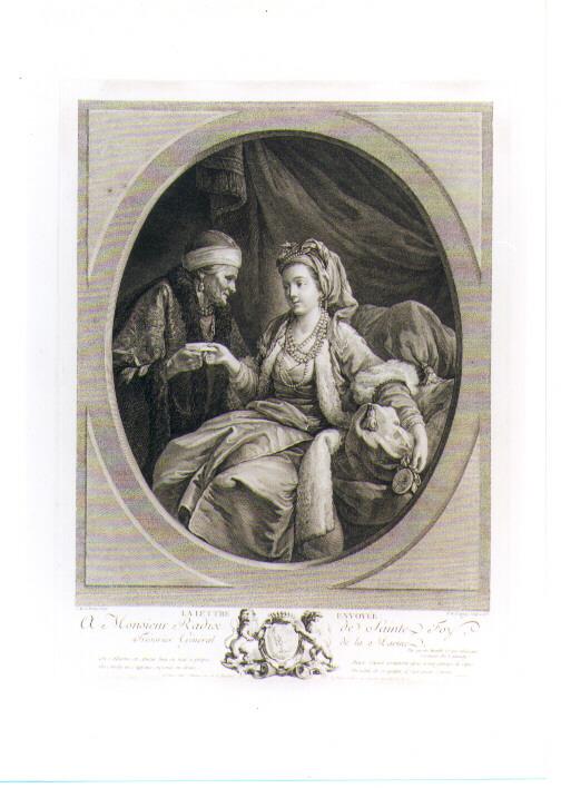 FIGURA FEMMINILE IN ATTO DI SPEDIRE UNA LETTERA (stampa controfondata smarginata) di Le Prince Jean Baptiste, De Delaunay Nicolas (sec. XVIII)