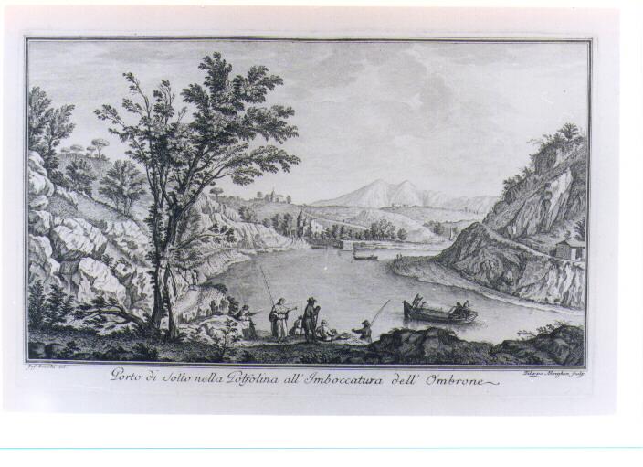VEDUTA DEL PORTO NELLA GOLFOLINA (stampa) di Morghen Filippo, Zocchi Giuseppe (sec. XVIII)