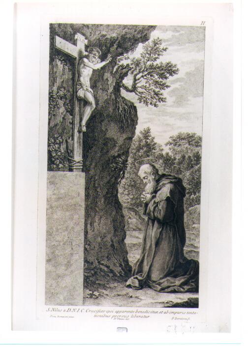 SAN NILO IN PREGHIERA (stampa) di Vanni Niccolò, Zampieri Domenico detto Domenichino, Bartolozzi Francesco (sec. XVIII)