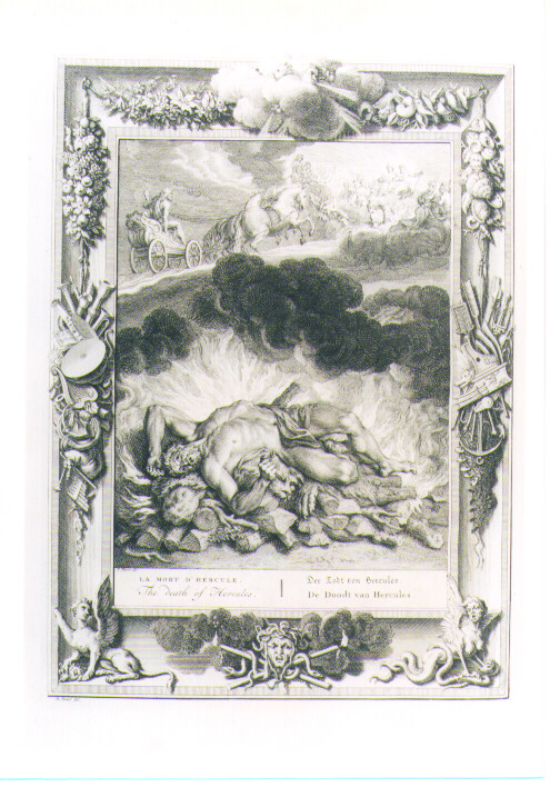 MORTE DI ERCOLE (stampa) di Picart Bernard (CERCHIA) (sec. XVIII)