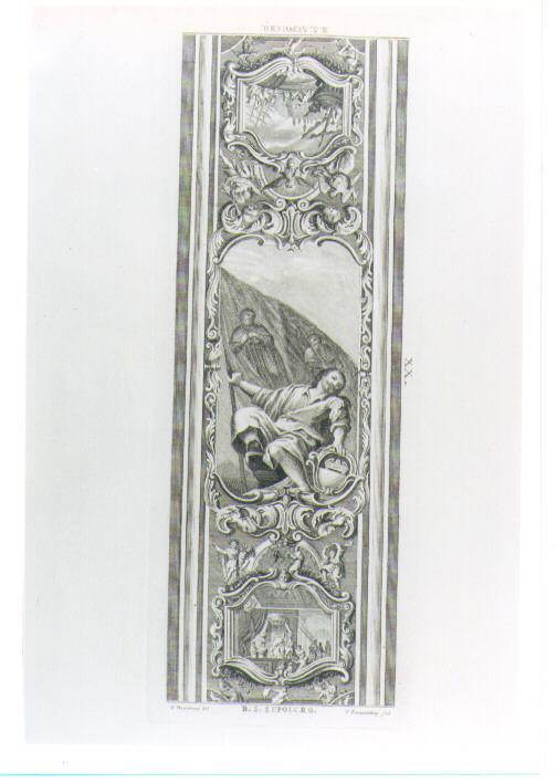 SOFFITTO CON ALLEGORIA DELLA CITTA' DI BORGO SAN SEPOLCRO (stampa) di Franceschini Vincenzo, Menabuoi Giuseppe (prima metà sec. XVIII)