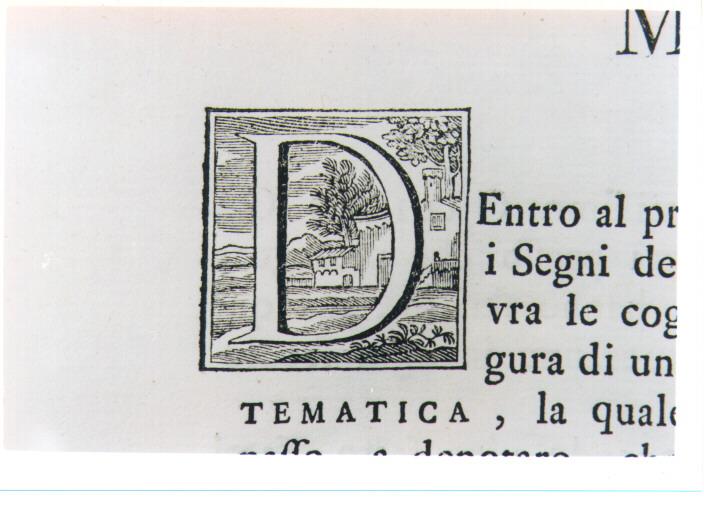 CAPOLETTERA D CON PAESAGGIO (stampa) - ambito toscano (prima metà sec. XVIII)