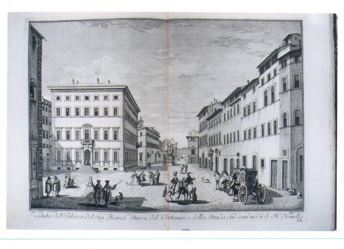 VEDUTA DI PALAZZO STROZZI (stampa) di Sgrilli Bernardo Sansone, Zocchi Giuseppe (sec. XVIII)