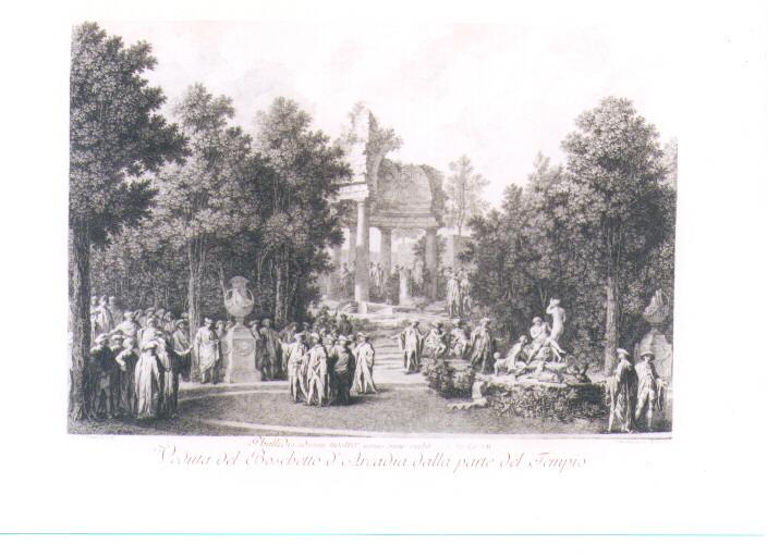 VEDUTA DEL BOSCHETTO D'ARCADIA (stampa) di Petitot Ennemond Alexandre, Volpato Giovanni (sec. XVIII)