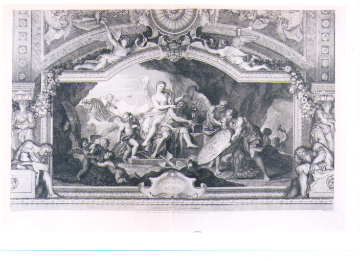 VENERE CHIEDE A VULCANO DI FORGIARE UN'ARMATURA PER ENEA (stampa) di Coypel Antoine, Tardieu Nicolas Henri (sec. XVIII)