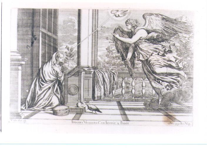 ANNUNCIAZIONE (stampa) di Vecellio Tiziano, Lefèvre Valentin (sec. XVII)