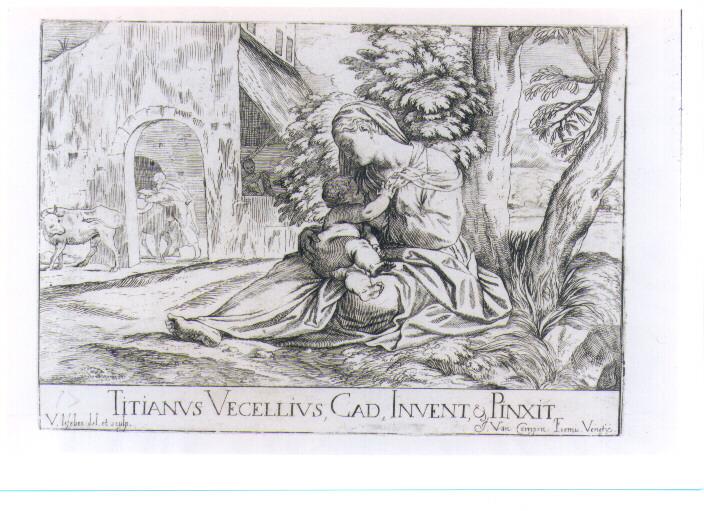 MADONNA CON BAMBINO (stampa controfondata smarginata) di Vecellio Tiziano, Lefèvre Valentin (sec. XVII)