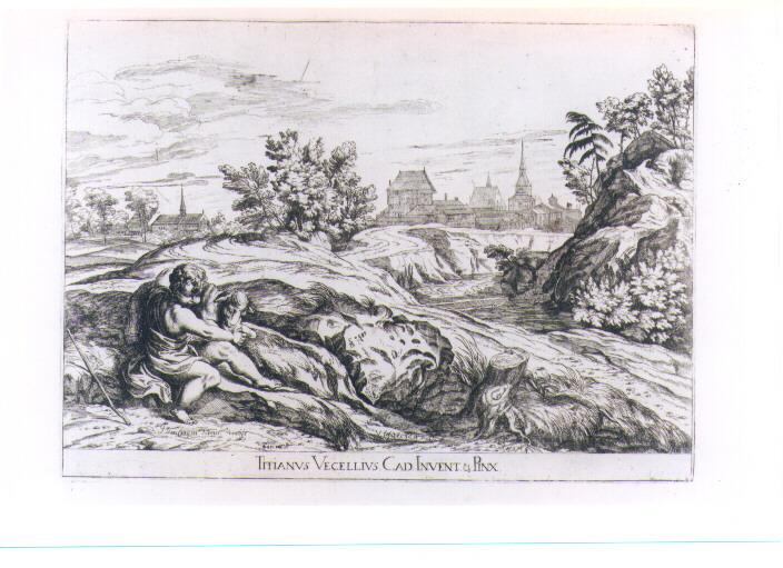 SAN GIOVANNINO CON L'AGNELLO (stampa) di Vecellio Tiziano, Lefèvre Valentin (sec. XVII)
