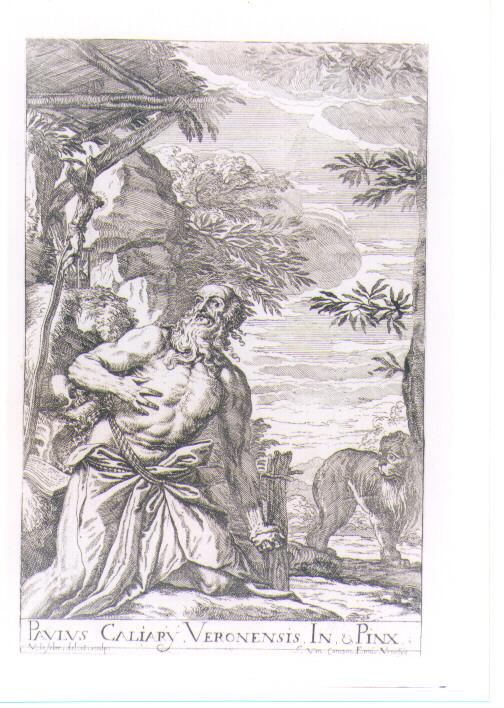 SAN GIROLAMO PENITENTE (stampa controfondata smarginata) di Caliari Paolo detto Paolo Veronese, Lefèvre Valentin (sec. XVII)