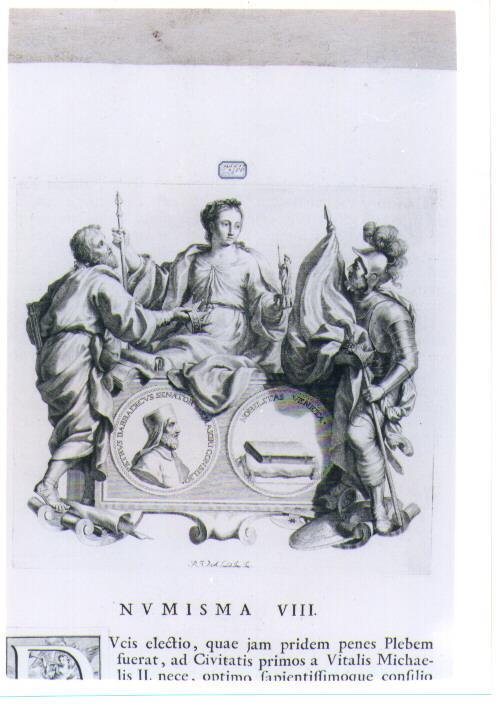 ALLEGORIA CON RECTO E VERSO DI MEDAGLIA CELEBRATIVA DI PIETRO BARBADIGO (stampa) di Van Audenaerde Robert (sec. XVIII)
