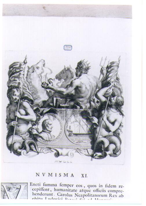NETTUNO CON RECTO E VERSO DI MEDAGLIA CELEBRATIVA DI GIOVANNI BARBADIGO (stampa) di Van Audenaerde Robert (sec. XVIII)