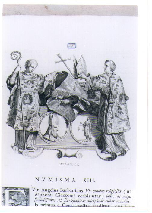ALLEGORIA CON RECTO E VERSO DI MEDAGLIA CELEBRATIVA DI ANGELO BARBADIGO (stampa) di Van Audenaerde Robert (sec. XVIII)